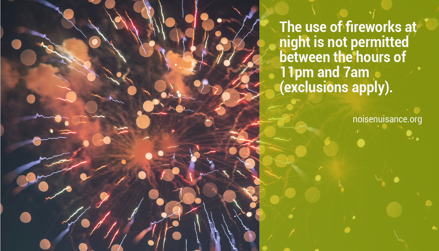 Noise from fireworks at night.